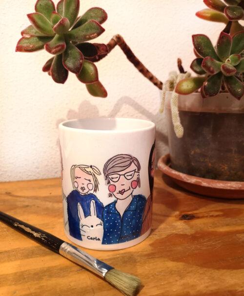 taza personalizada ilustracion retrato divertido original familia