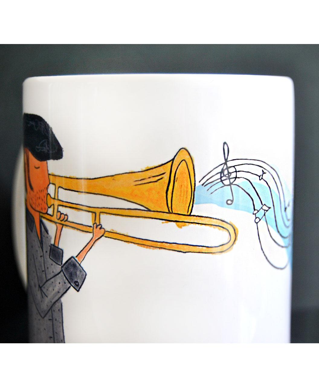 taza personalizada dibujo retrato divertido musico trompeta