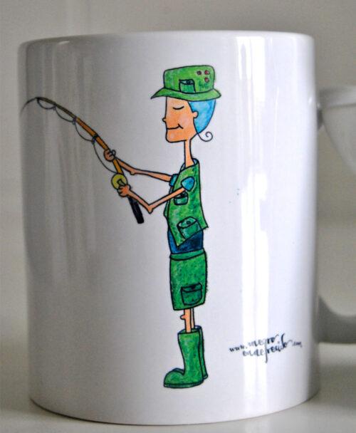 taza personalizada ilustraciones retratos divertidos hobbies deportes pescador