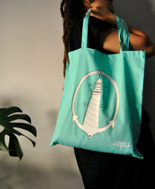 tote bag estilo alternativo ilustracion faro tattoo old school verde menta