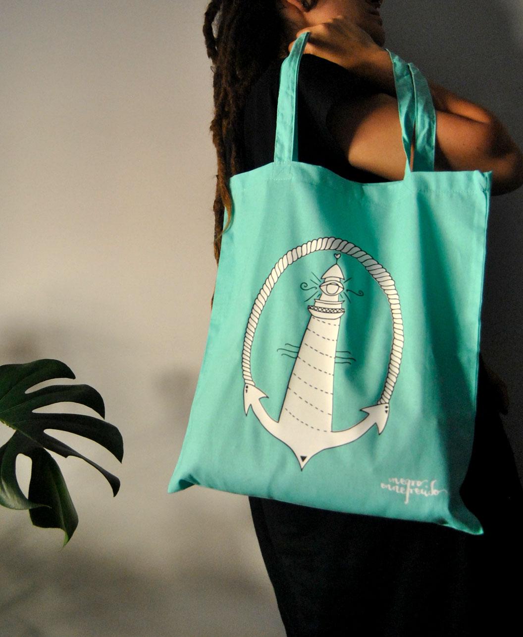 tote bag estilo alternativo ilustracion faro tattoo old school verde menta