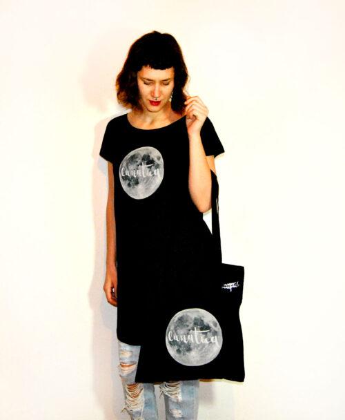 tunica vestido mujer algodon organico negro comodo amplio ilustracion luna llena lunatica