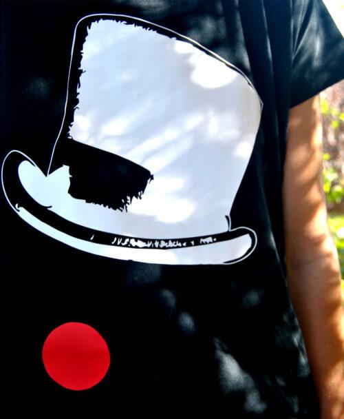 vestido mujer amplio algodon organico original diferente con ilustracion sombrero nariz payaso circo