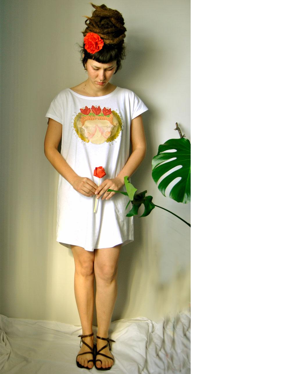 vestido tunica mujer comodo versatil sporty algodon organico chica flores