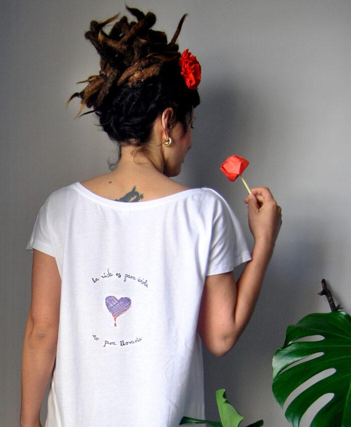 tunica vestido mujer comodo algodon organico dibujo y mensaje llorar la vida