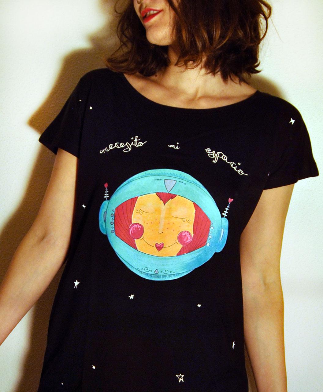 tunica vestido mujer algodon organico diseno original diferente divertido cosmonauta necesito mi espacio