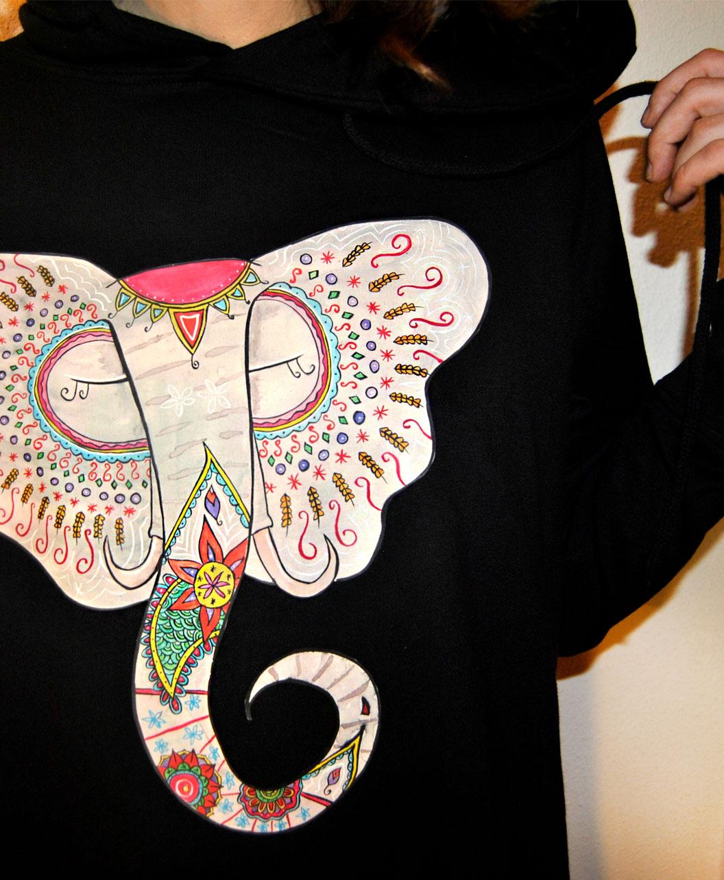 vestido sudadera capucha algodon organico mujer estilo alternativo diferente original dibujo elefante indio