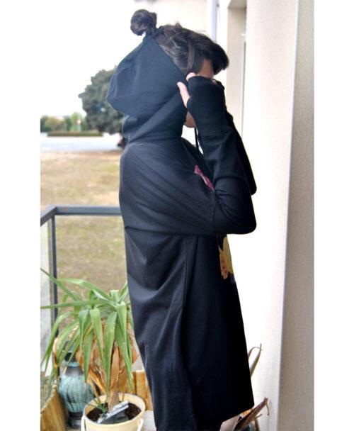 vestido sudadera mujer algodon organico estilo deportivo capucha moda alternativa adivina adivinanza
