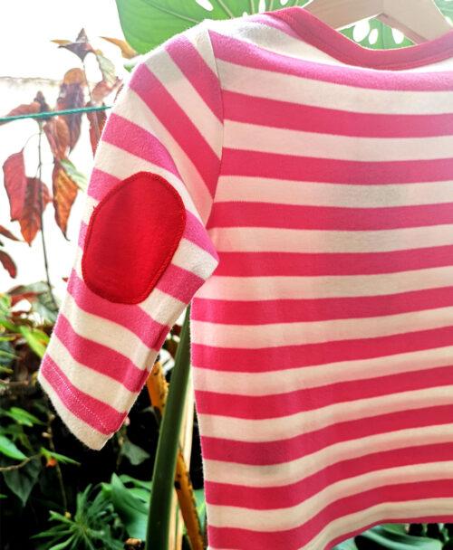 camiseta baby manga larga rayas rosas coderas rojas ilustracion gato
