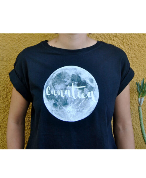 camiseta crop manga corta algodon organico mujer ilustracion luna llena lunatica