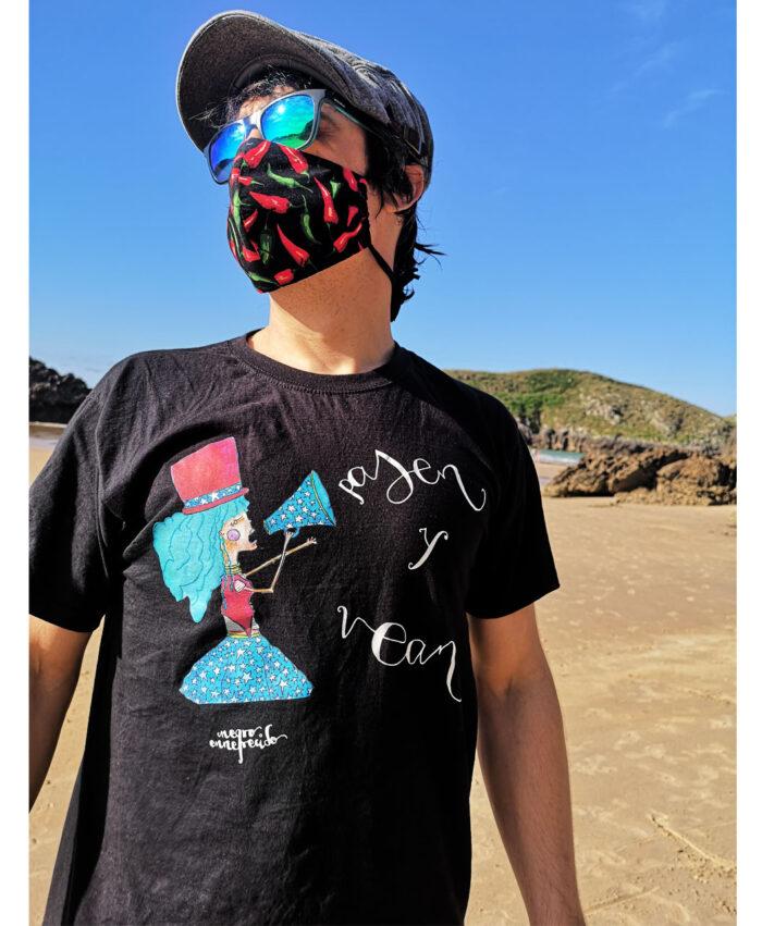 camiseta unisex manga corta algodon organico ilustracion y texto pasen y vean