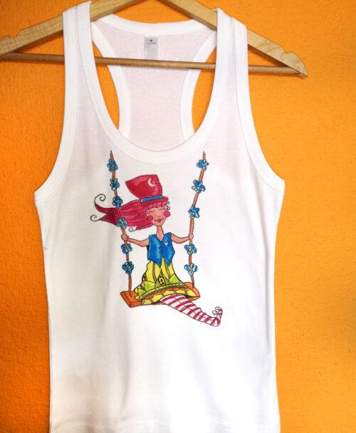 camiseta tirantes mujer blanca verano rebajas estilo alternativo ilustracion columpio flores
