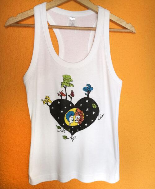 camiseta tirantes blanca mujer estilo alternativo ilustracion noche sin luna