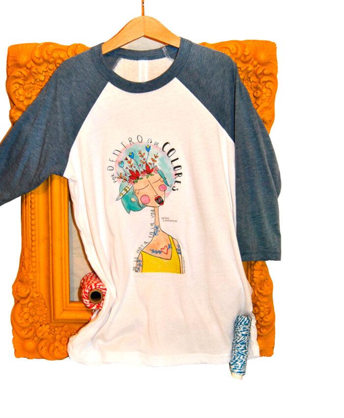 camiseta infantil original estilo alternativo tipo beisbol mangas denim voz colores
