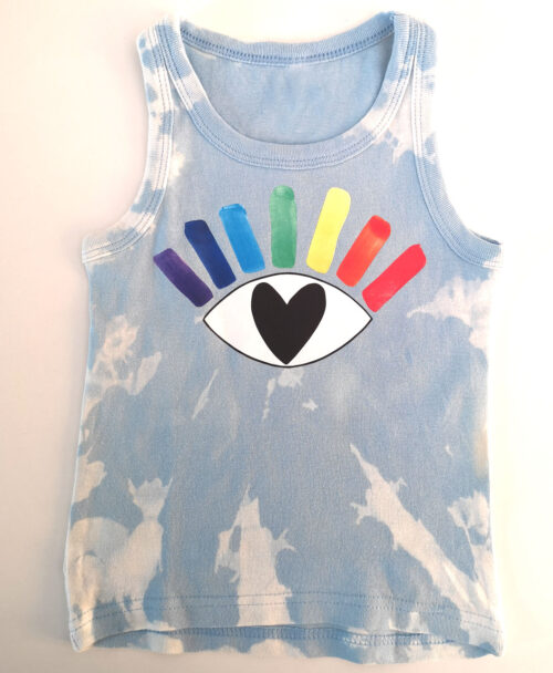 camiseta tirantes nino tie dye azul diseno ojo arcoiris