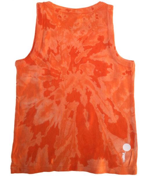 camiseta infantil tie dye naranja de tirantes ilustracion unicornio arcoiris