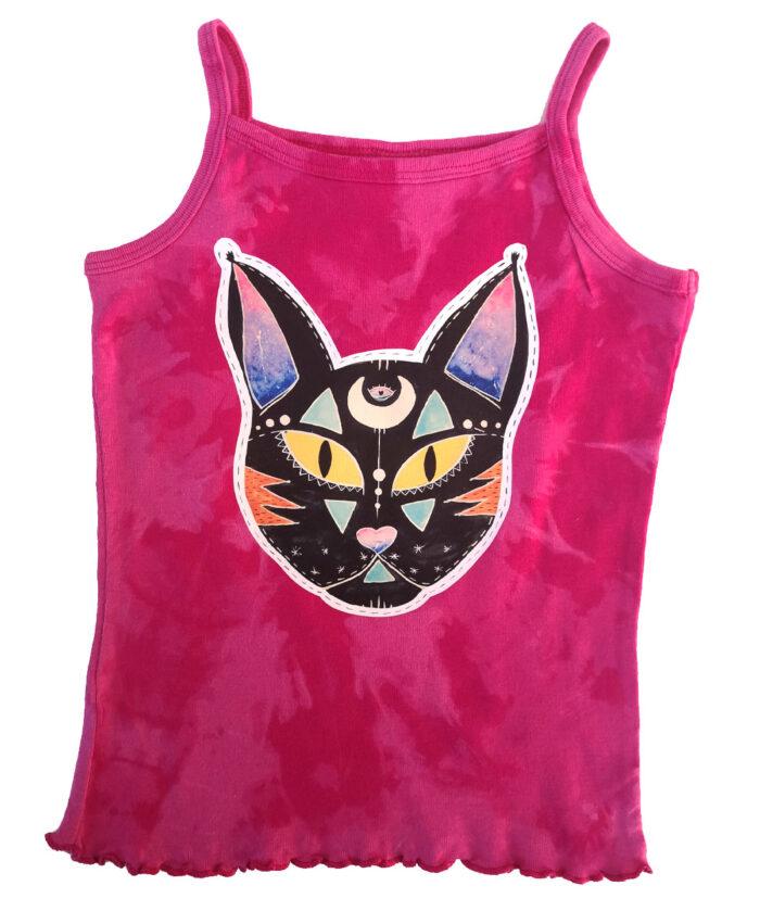 camiseta tie dye infantil tirantes rosa fucsia dibujo gato negro cosmico
