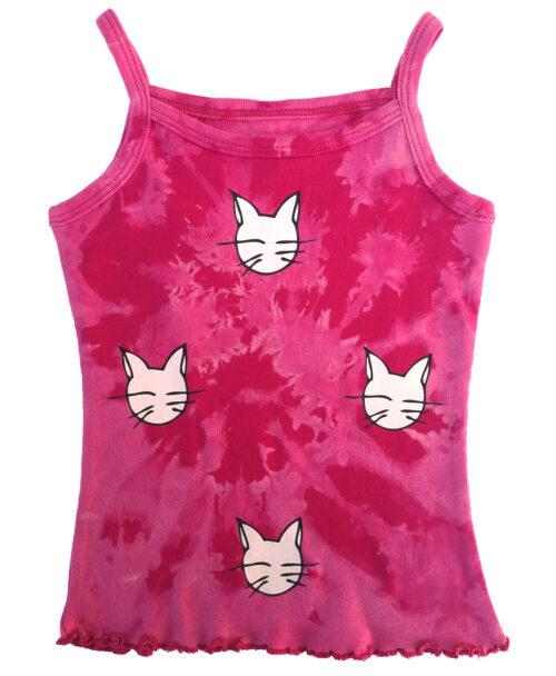 camiseta nina tirantes rosa fucsia tie dye diseno gatos