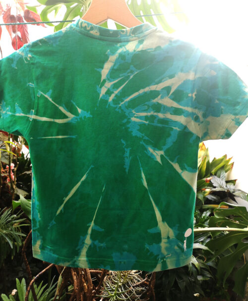 camiseta infantil tie dye alegre colorida unica verde dibujo elefante indio