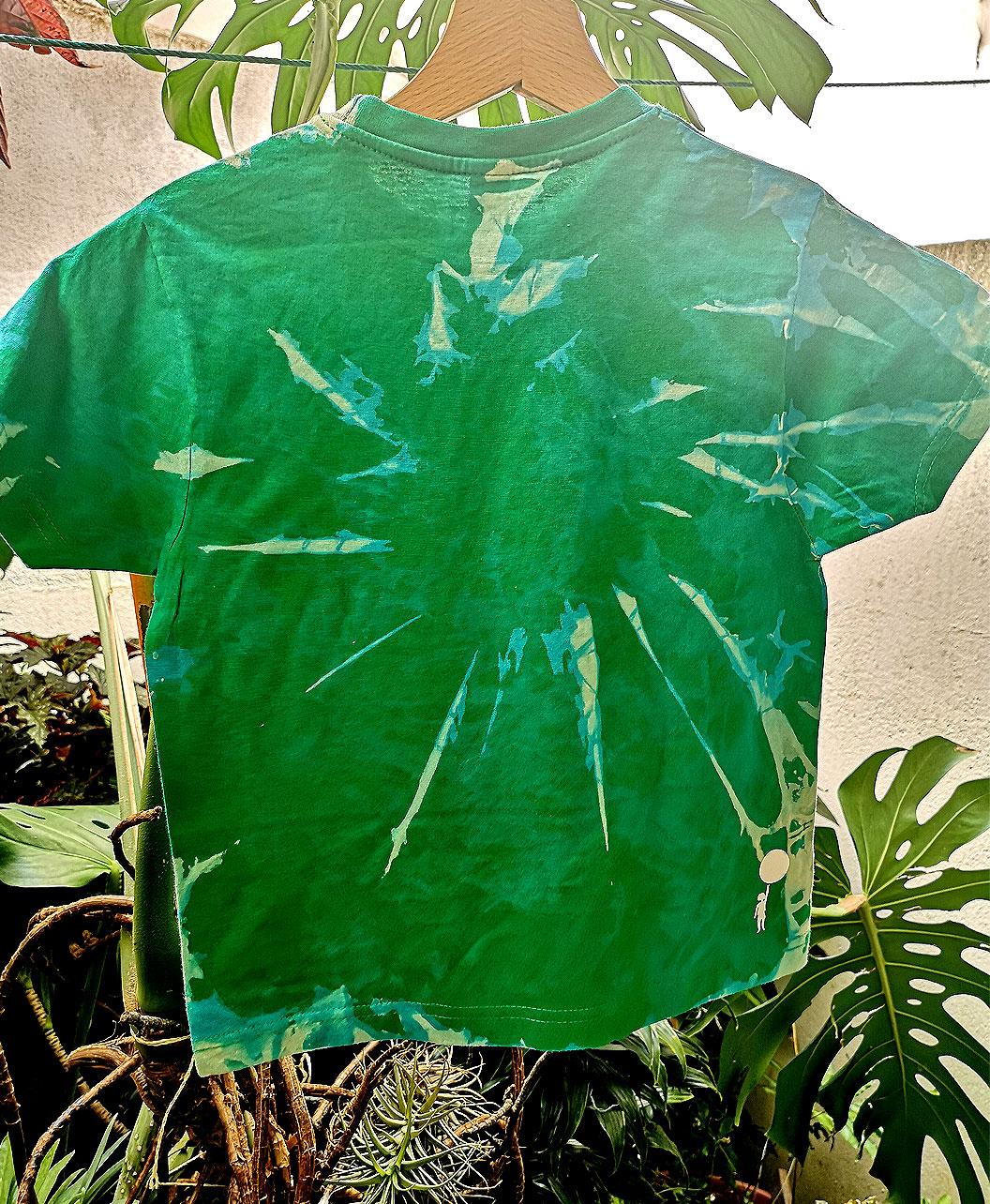 camisetas ninos tie dye originales divertidas verde ilustracion gato negro