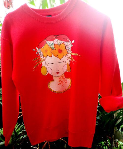 sudadera unisex infantil basica ilustracion original diferente frida chica flores pelo tropical lady