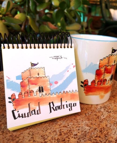 conjunto taza y libreta castillo monumento ciudad rodrigo original diferente