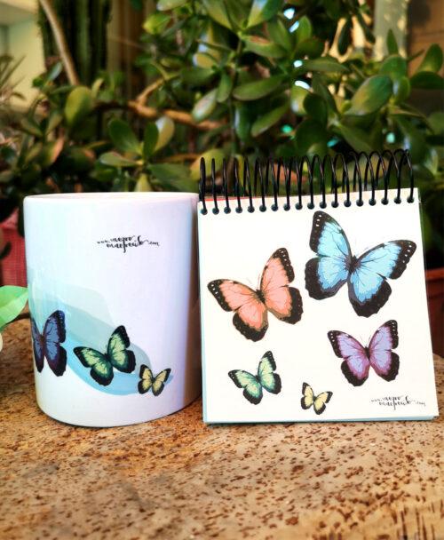 conjunto taza y libreta original bonito mariposas de colores
