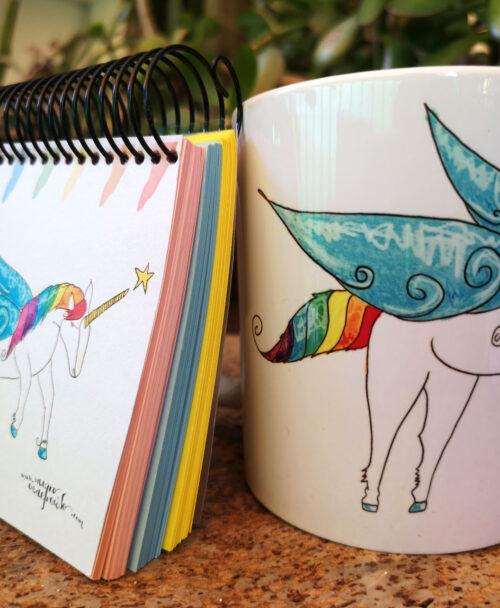 conjunto taza y libreta ideal regalo con dibujos originales diferentes alegres unicornio arcoiris