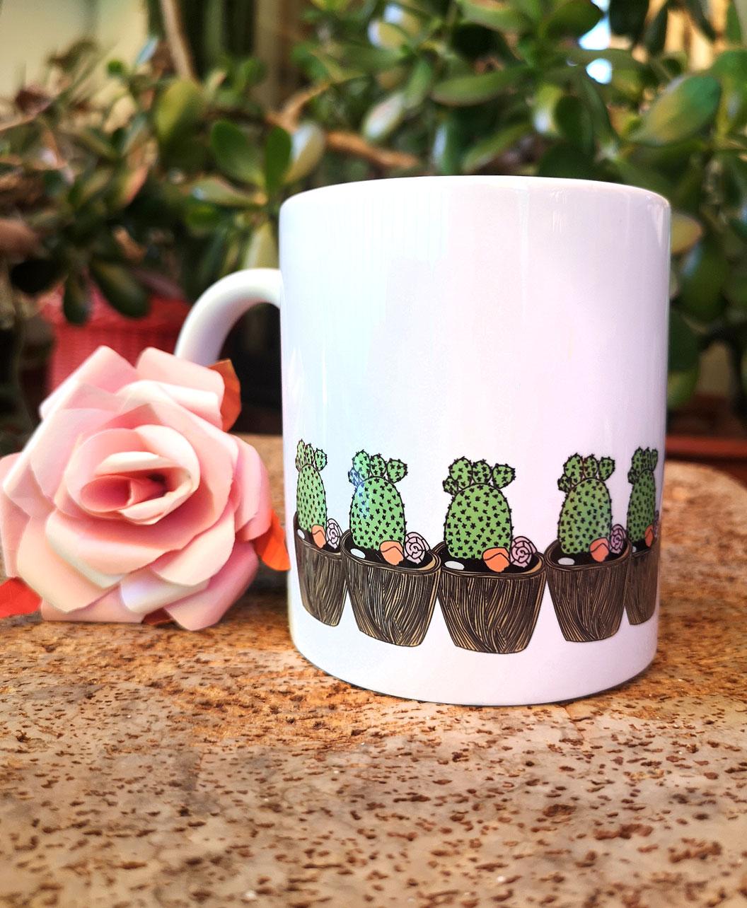 taza diseno bonito original ilustracion fenefa cactus