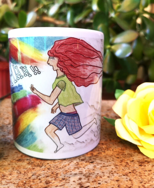 taza diseno original chica pelo rojo gritando con colores