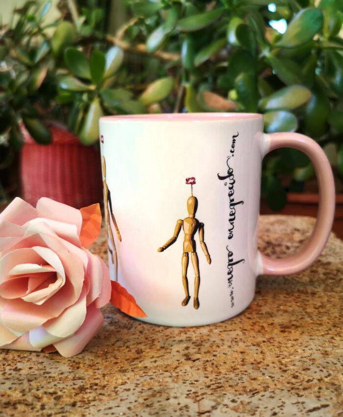 taza original diseno divertido maniquis bailando con flor en cabeza