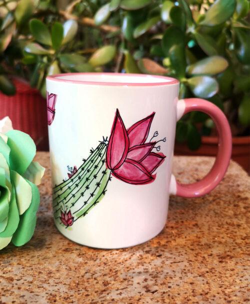 taza original bonita ilustracion plantas cactus con flores rosas