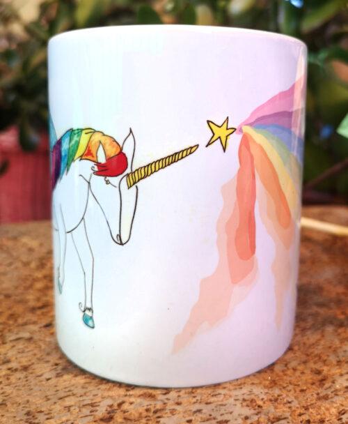 taza original bonita alegre colorida dibujo unicornio arcoiris