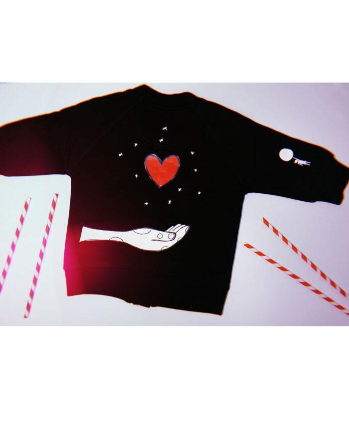 chaqueta baby bomber negra algodon organico ilustracion original mano corazon