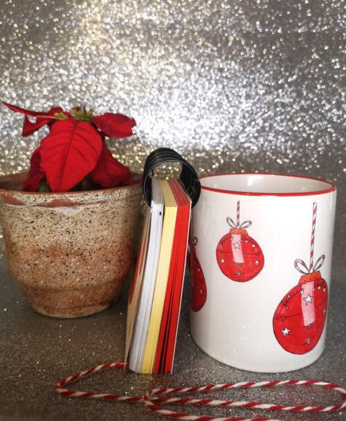 conjunto taza y libreta regalo navidad rojo bonito original bolas arbol