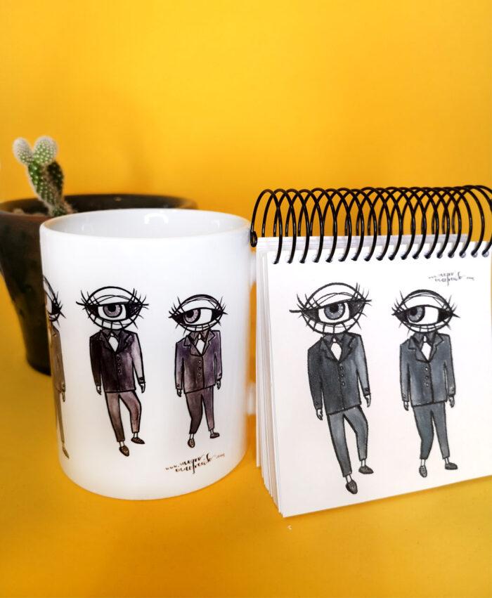 conjunto taza y libreta ideal regalo con ilustraciones originales ojos en traje