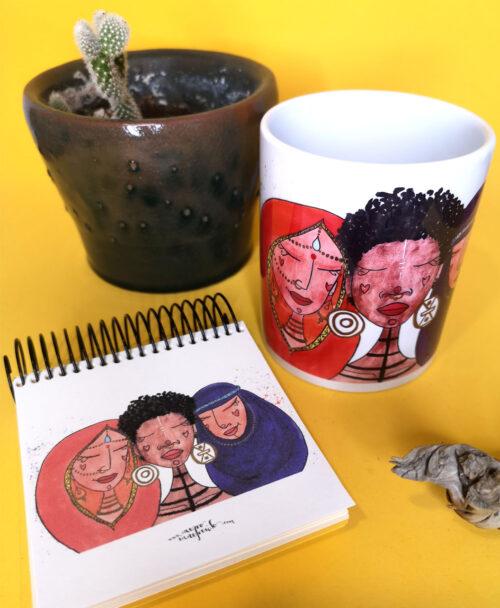 conjunto taza y libreta original diferente ideal regalo ilustracion mujer racializada mujeres del mundo