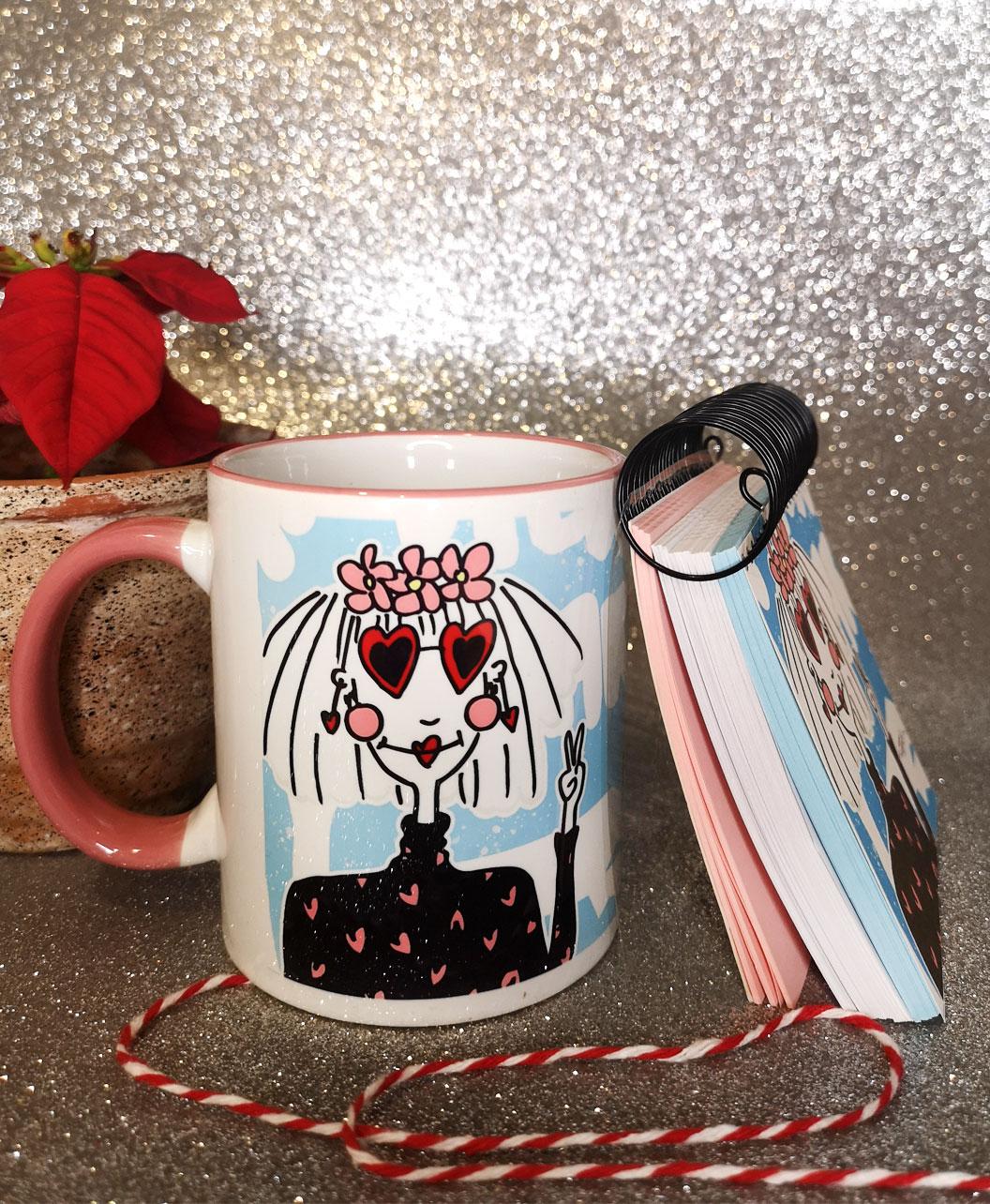 conjunto taza y libreta navidad ideal regalo diferente original happy hippi new year