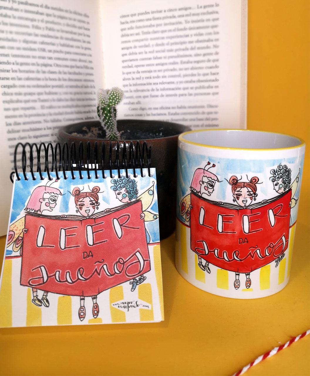 conjunto taza y libreta ideal regalo con ilustraciones originales divertidas coloridas lectura leer da suenos