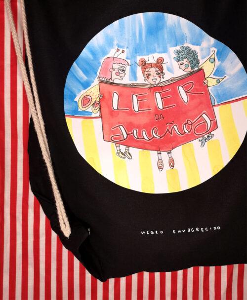 mochila de tela saco ligera original ideal regalo con ilustraciones y frases leer da suenos