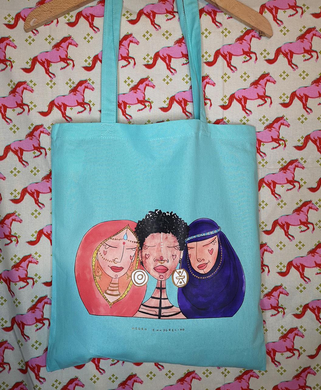 bolso tela tote bag colorido alegre ilustracion feminista mujeres del mundo