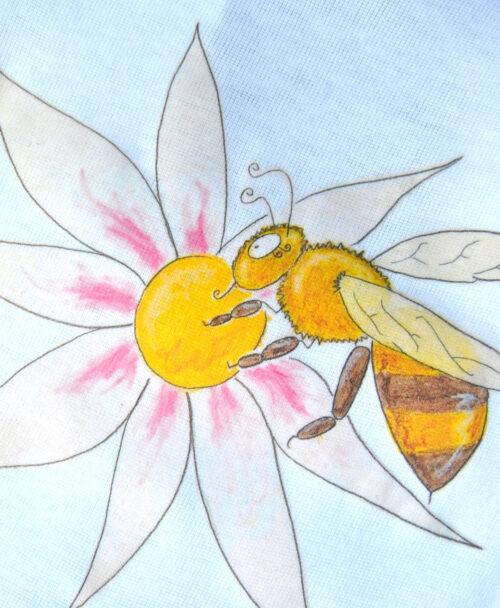 body bebe manga corta blanco algodon organico dibujos infantiles bonitos y originales abeja flor jardin naturaleza
