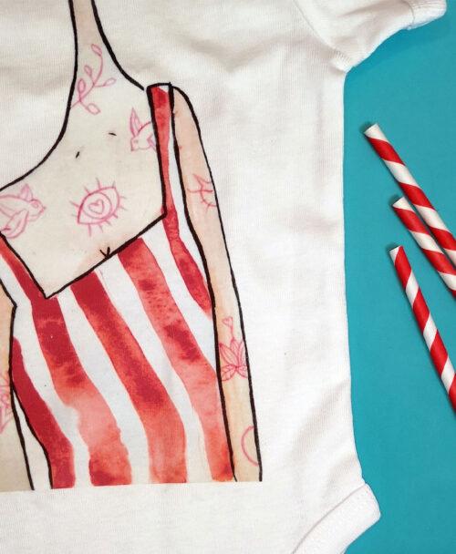 body bebe manga corta blanco con dibujos originales divertido estilo alternativo rayas rojas chica tatus rosas
