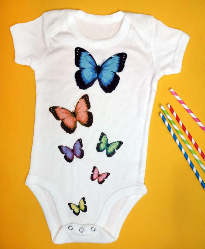 body bebe blanco de manga corta con dibujos bonitos para ninios animales mariposas