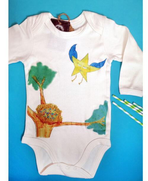 body bebe manga larga color crema dibujo infantil original nido de estrellas