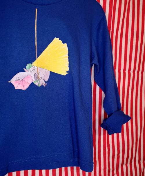 camiseta azul manga larga kids original diferente moda alterativa infantil dibujo murcielago linterna