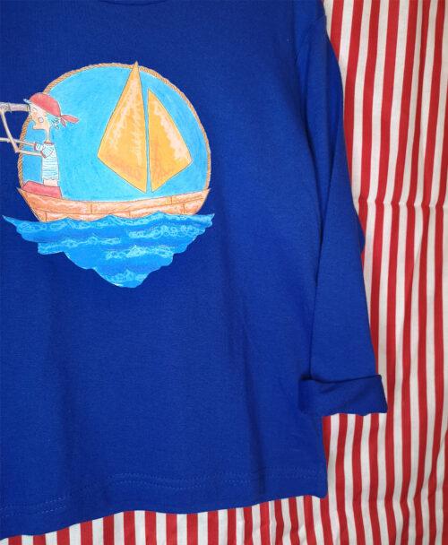 camiseta manga larga azul infantil basica unisex dibujo cuento barquito marinero