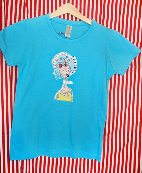 camiseta manga corta infantil azul alegre colorida ilustracion verso cancion poesia extremoduro voz colores amor