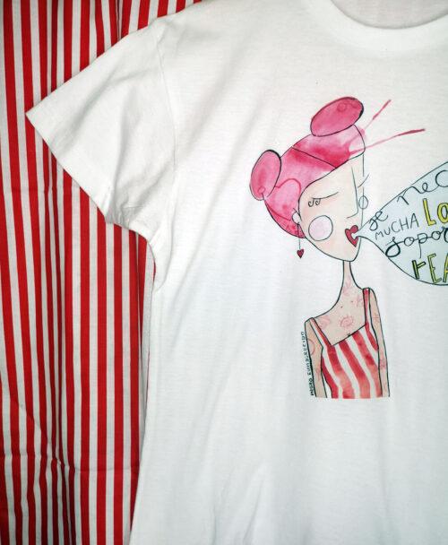 camiseta manga corta blanca unisex kids ilustracion original divertida revolucionaria chica pelo rosa camiseta de rayas rojas locura realidad