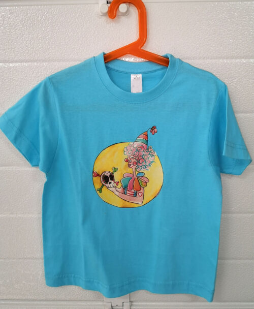 camiseta manga corta azul moda alternativa infantil con ilustraciones originales coloridas diferentes payaso triste arcoiris hamlet